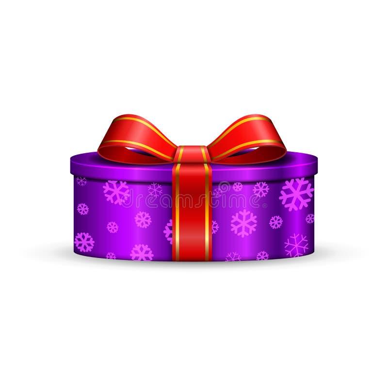 La caja de regalo 3d, arco rojo de la cinta aisló el fondo blanco Actual regalo-caja púrpura de la decoración para el día de fies libre illustration