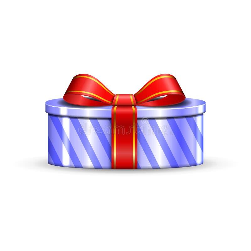 La caja de regalo 3d, arco rojo de la cinta aisló el fondo blanco Actual regalo-caja de plata de la decoración para el día de fie stock de ilustración