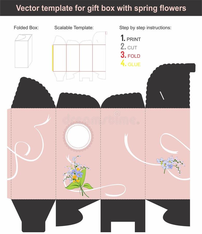 La caja de regalo elegante en forma alta con la primavera dibujada mano florece fotografía de archivo libre de regalías