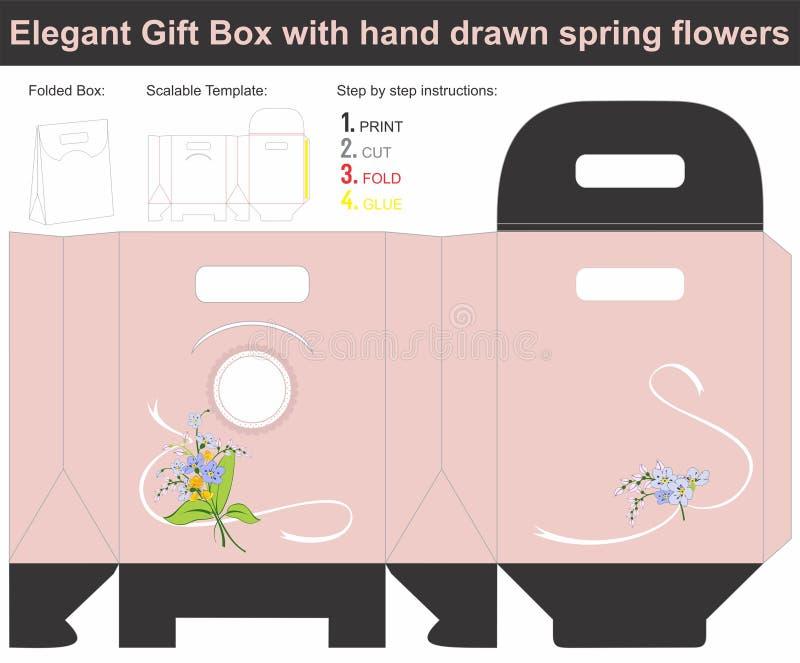 La caja de regalo elegante en forma de la caja con la primavera dibujada mano florece fotos de archivo libres de regalías