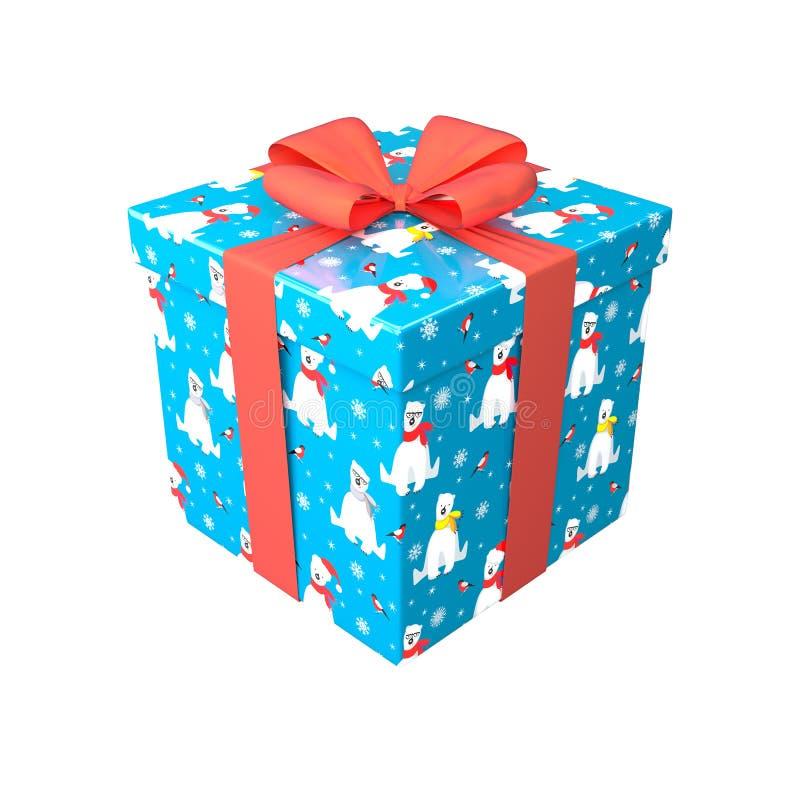 La caja de regalo en color azul, rojo y blanco con el arco y la cinta rojos 3d rinde stock de ilustración