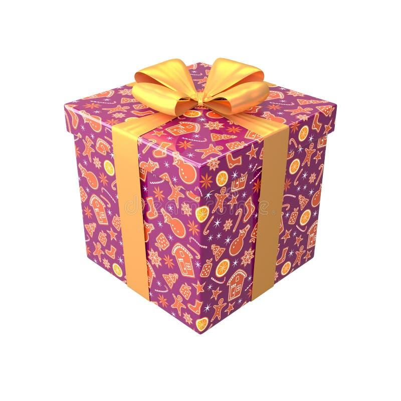 La caja de regalo en colores marrones o púrpuras con el arco y la cinta amarillos 3d rinde ilustración del vector
