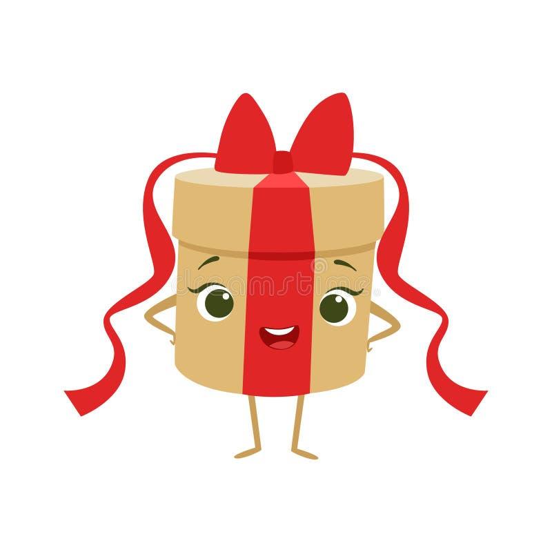 La caja de regalo redonda con el arco rojo embroma el carácter femenino sonriente feliz de la historieta animada del objeto de la ilustración del vector