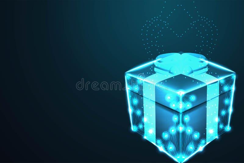 La caja de regalo de la sorpresa, malla poligonal del marco del alambre parece la constelación en el cielo nocturno azul marino c stock de ilustración