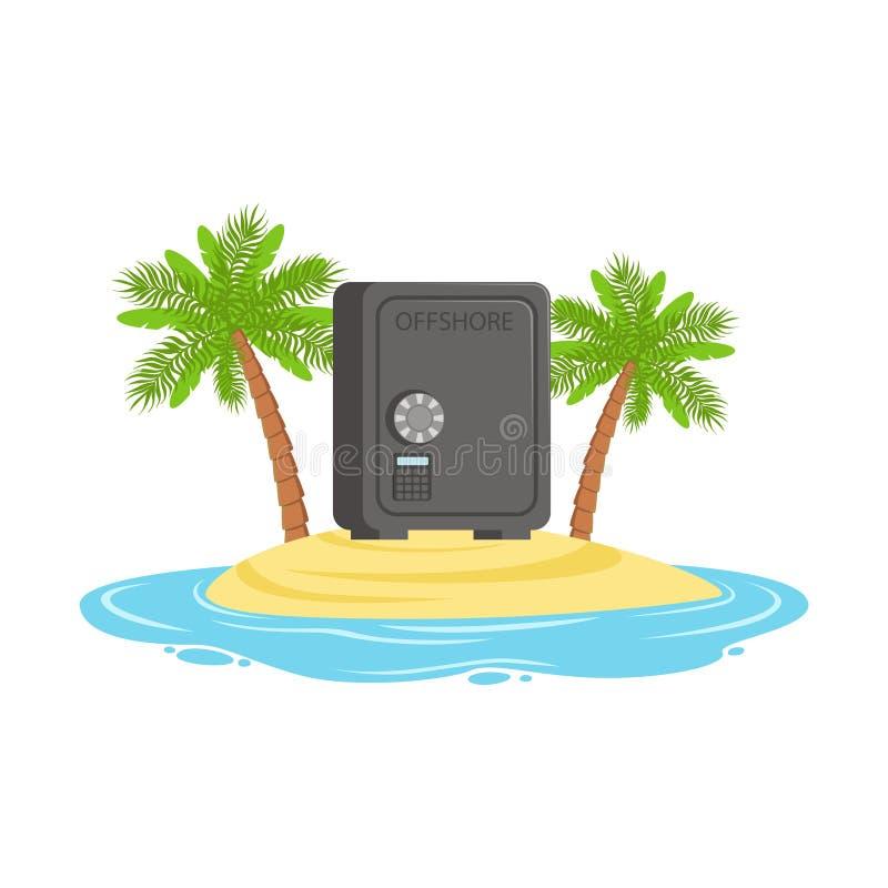La caja fuerte cerrada en una isla tropical, ocultada en recursos costeros de la riqueza vector el ejemplo stock de ilustración