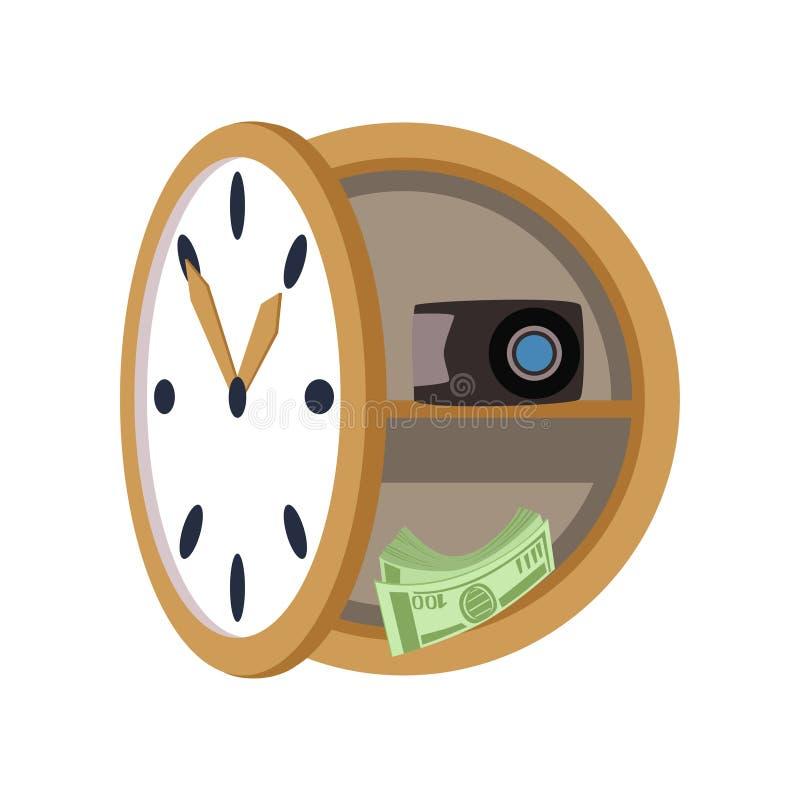 La caja fuerte secreta bajo la forma de reloj de pared, caja del negocio de la seguridad, valora el ejemplo seguro del vector del stock de ilustración