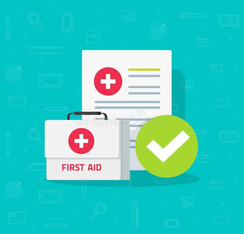 La caja médica y la forma clínica con datos de los resultados y la marca de verificación aprobada vector el ejemplo, diseño plano ilustración del vector