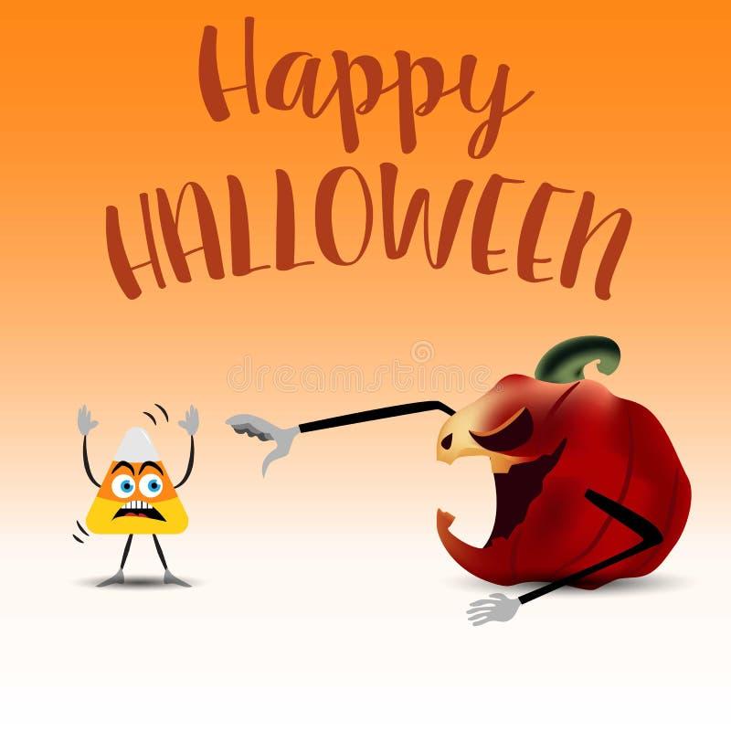 La calabaza de Halloween y las pastillas de caramelo cardan o el diseño del cartel Fondo de la pendiente Ilustración del vector E ilustración del vector