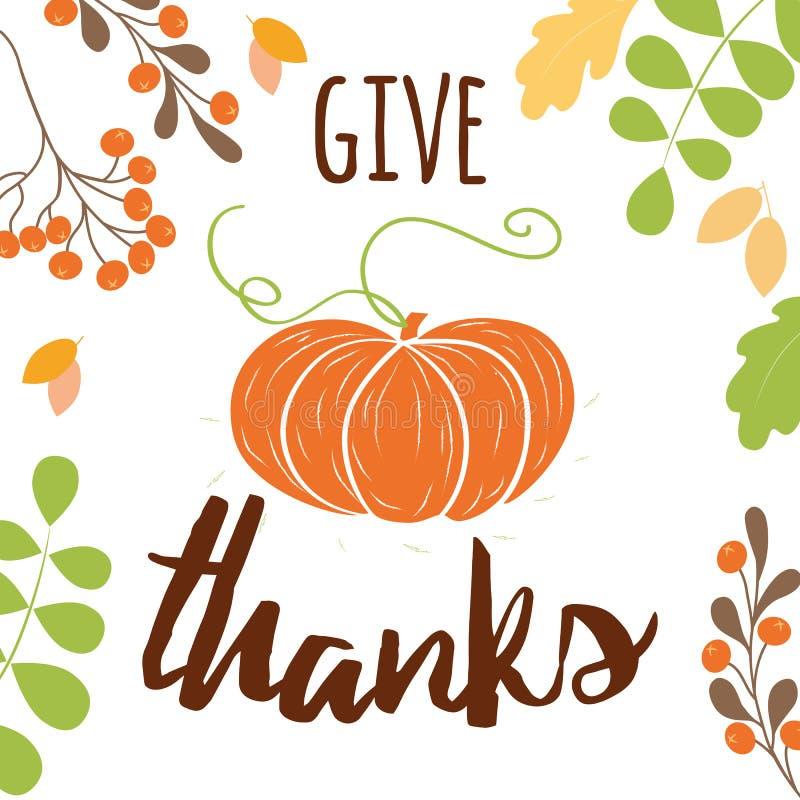 La calabaza del vector da la decoración anaranjada dibujada del pampkin de la mano de impresión del otoño de las gracias para la  ilustración del vector