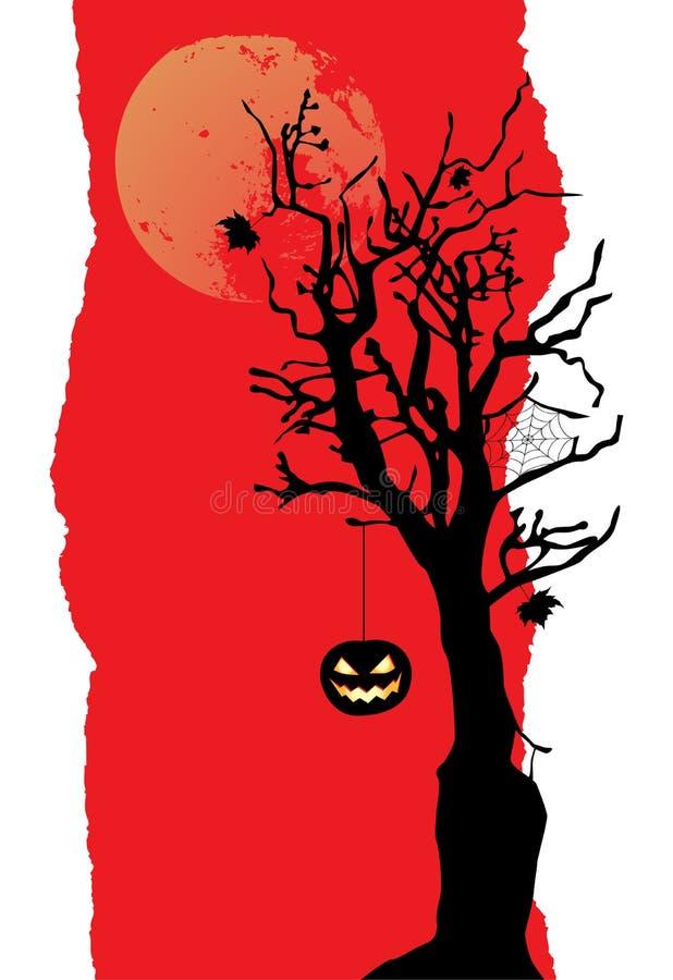 La calabaza está colgando en el árbol Bandera de Víspera de Todos los Santos stock de ilustración