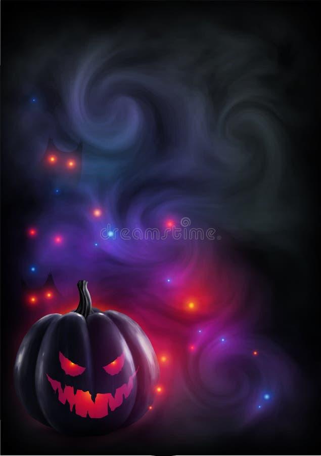 La calabaza malvada de la cara de la luz roja en la niebla mística y el color enciende el fondo Contexto de la magia del cartel o libre illustration