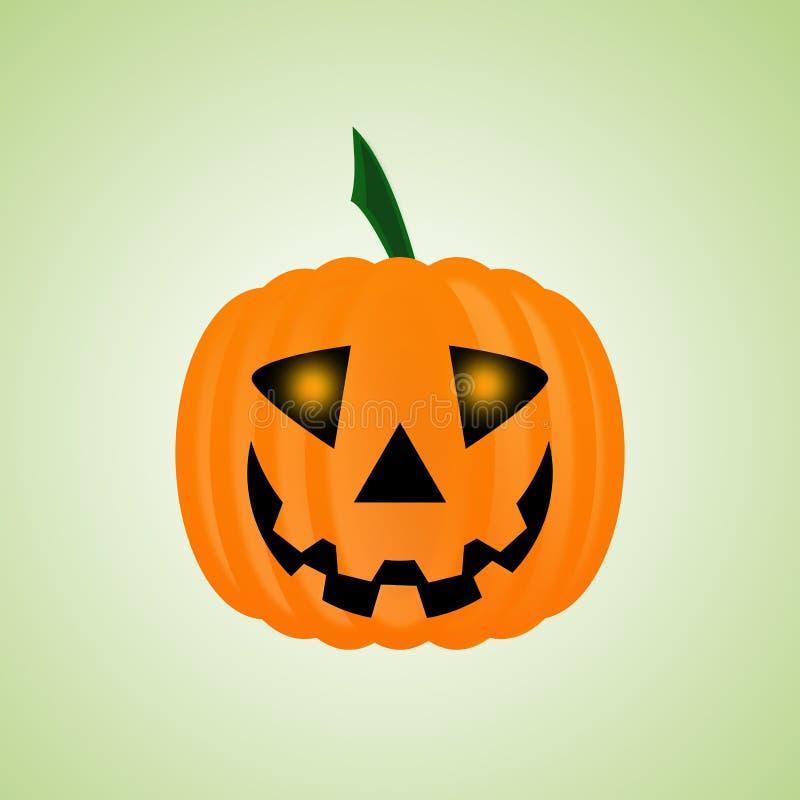 La calabaza para Halloween aisló, los ojos que brillaban intensamente, linterna de Jack stock de ilustración