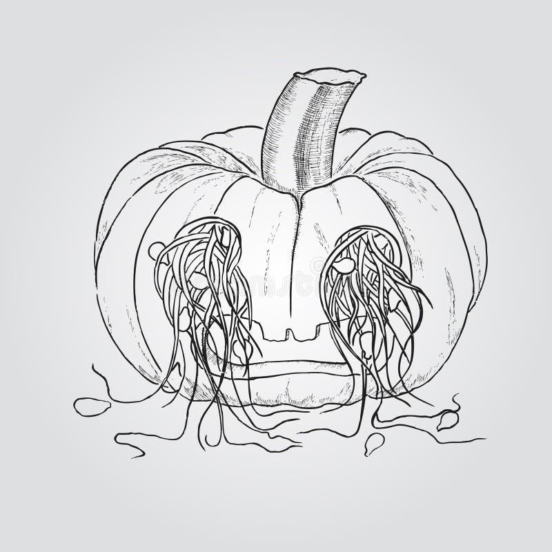 La calabaza para Halloween con las semillas salió a través de los ojos stock de ilustración