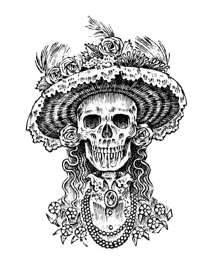La Calavera Catrina Scheletro della donna elegante Giorno dei morti Spanish Dia de los Muertos Festa nazionale messicana royalty illustrazione gratis