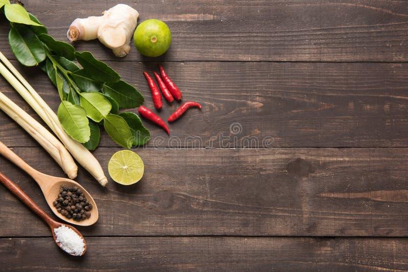 La calce del Kaffir va, zenzero, il limone, il pepe, il sale, peperoncino rosso rosso e fotografie stock libere da diritti
