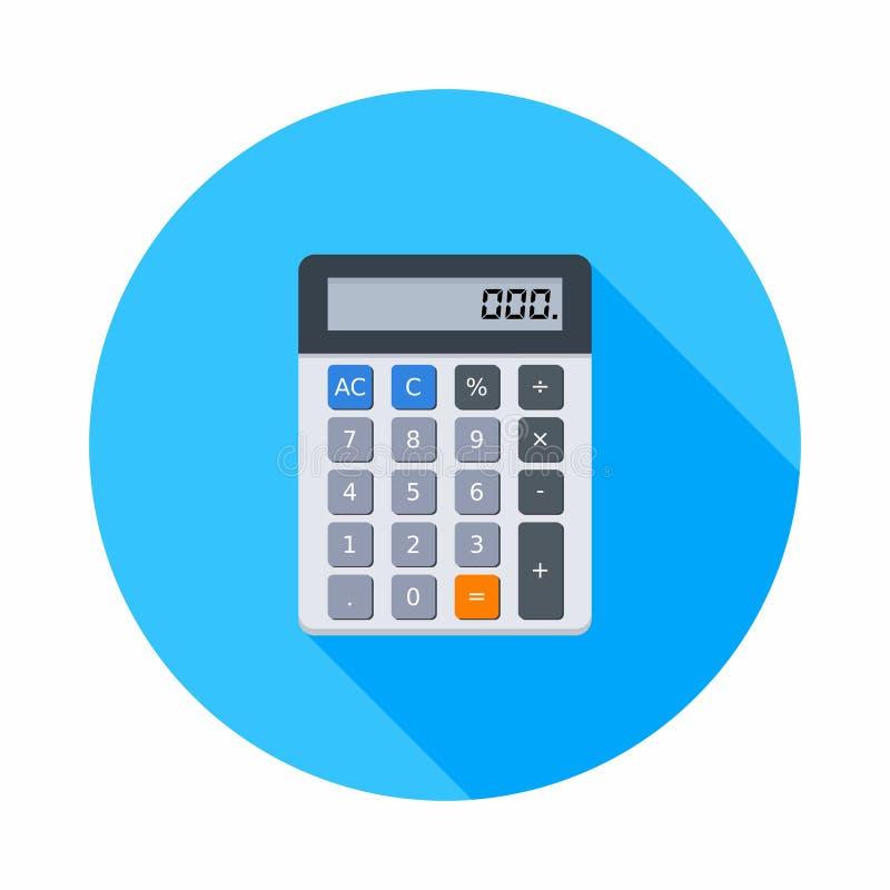La calcolatrice elettronica, concetto calcola la finanza di conto, i mobili d'ufficio, la finanza, l'affare, il vettore, icona pi illustrazione vettoriale