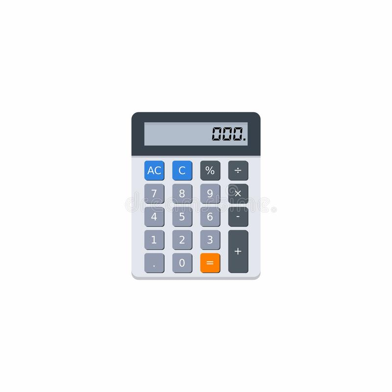 La calcolatrice elettronica, concetto calcola la finanza di conto, i mobili d'ufficio, la finanza, l'affare, nessun fondo, il vet illustrazione di stock