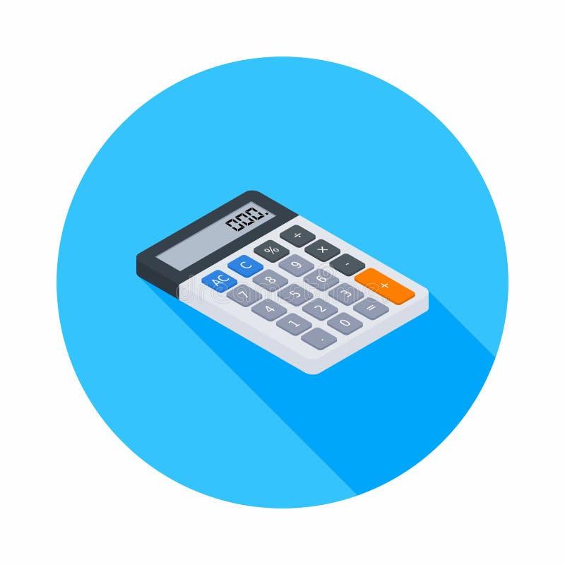 La calcolatrice elettronica, isometrica, concetto calcola la finanza di conto, i mobili d'ufficio, la finanza, l'affare, il vetto royalty illustrazione gratis
