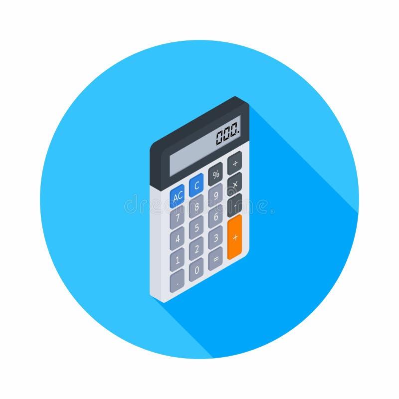 La calcolatrice elettronica, isometrica, concetto calcola la finanza di conto, i mobili d'ufficio, la finanza, l'affare, il vetto illustrazione vettoriale