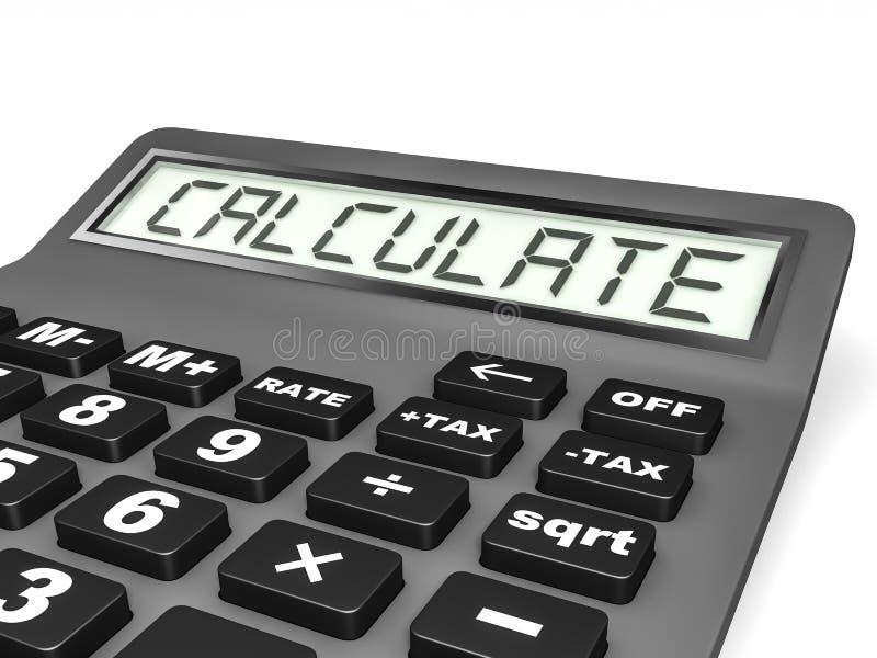 La calculadora con CALCULA en la exhibición stock de ilustración