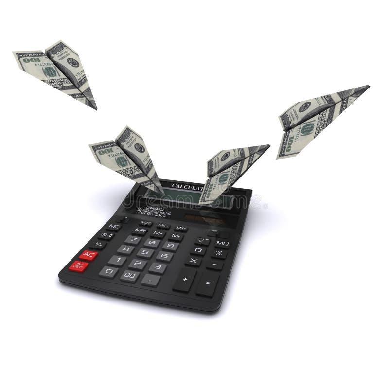 La calculadora dice los aeroplanos de papel fuera de dólares ilustración del vector