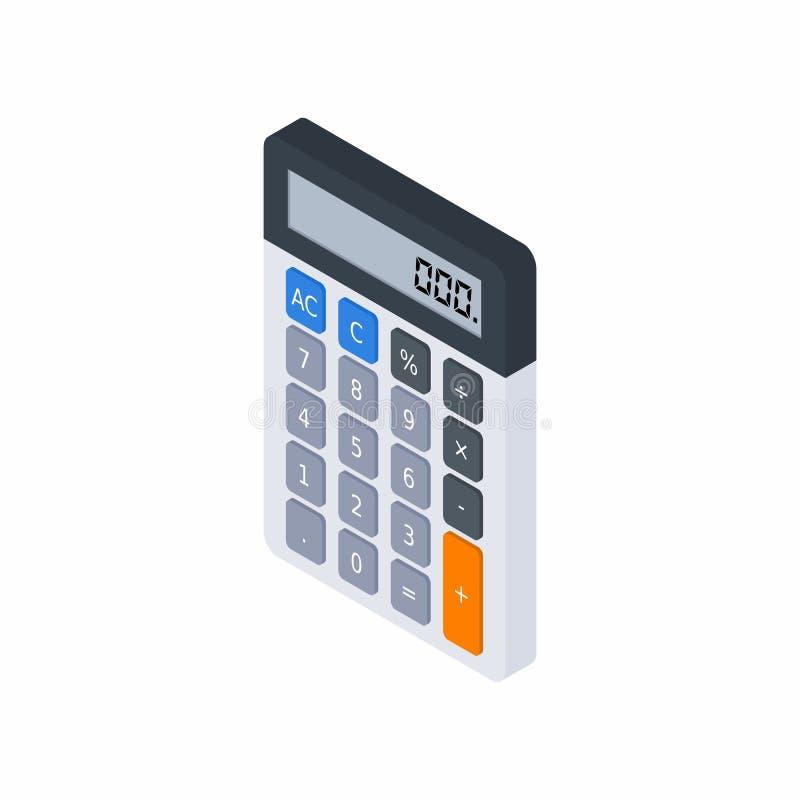 La calculadora electrónica, isométrica, concepto calcula las finanzas de la cuenta, mobiliario de oficinas, finanzas, negocio,  ilustración del vector