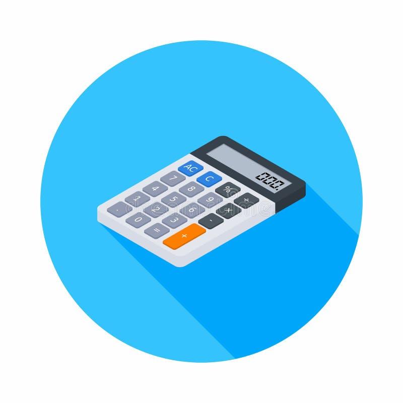 La calculadora electrónica, isométrica, concepto calcula las finanzas de la cuenta, mobiliario de oficinas, finanzas, negocio,  stock de ilustración