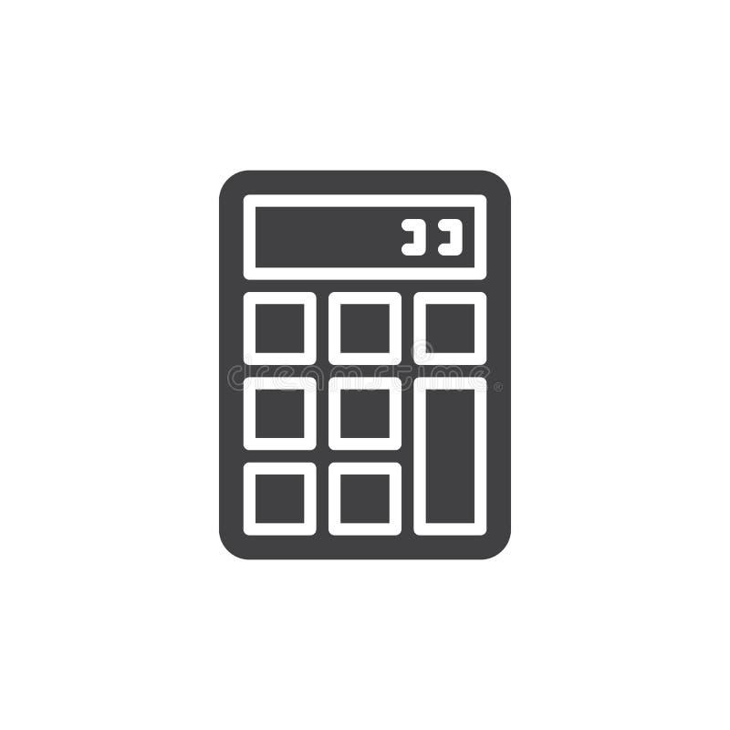 La calculadora, vector del icono, llenó la muestra plana, pictograma sólido aislado en blanco stock de ilustración