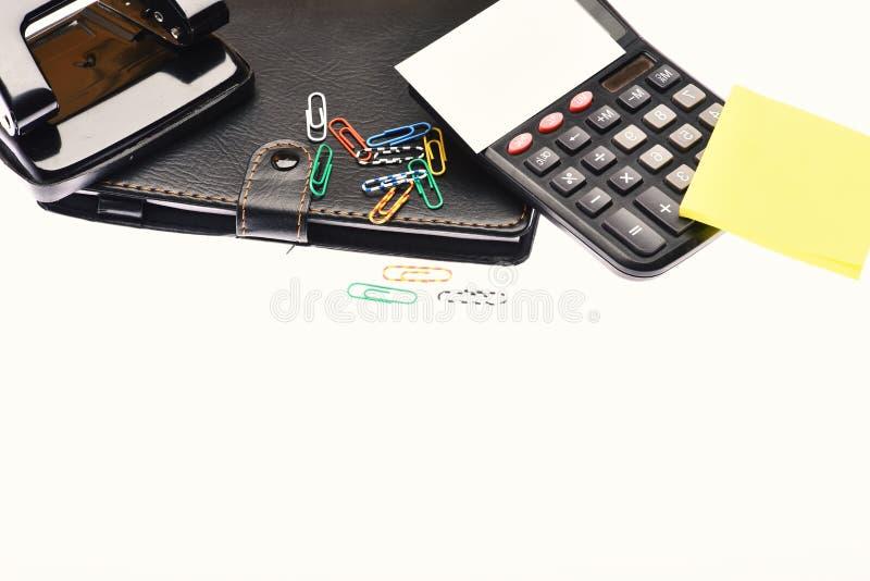 La calculadora y los efectos de escritorio con la copia espacian, se cierran para arriba imágenes de archivo libres de regalías