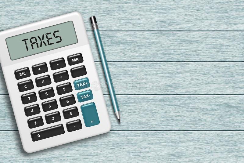 La calculatrice avec des impôts textotent le mensonge sur le bureau en bois illustration de vecteur