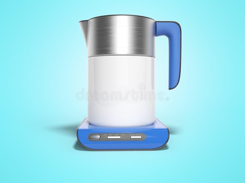 La caldera eléctrica del concepto en soporte azul con los botones de inclusiones con el agua hirvienda 3d rinde el ejemplo en fon stock de ilustración
