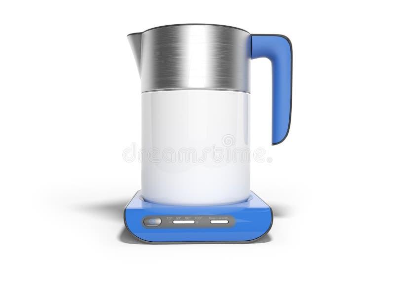 La caldera eléctrica del concepto en soporte azul con los botones de inclusiones con el agua hirvienda 3d rinde el ejemplo en el  stock de ilustración