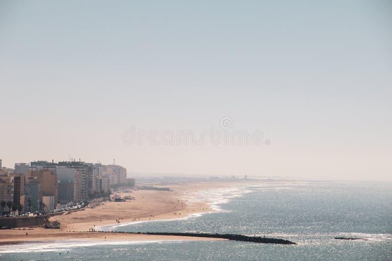 La caleta海滩在卡迪士,西班牙 免版税图库摄影