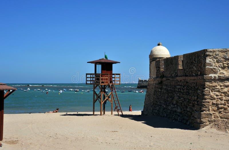 La Caleta Beach on the Atlantic ocean near fortress of San Sebastian. stock photography