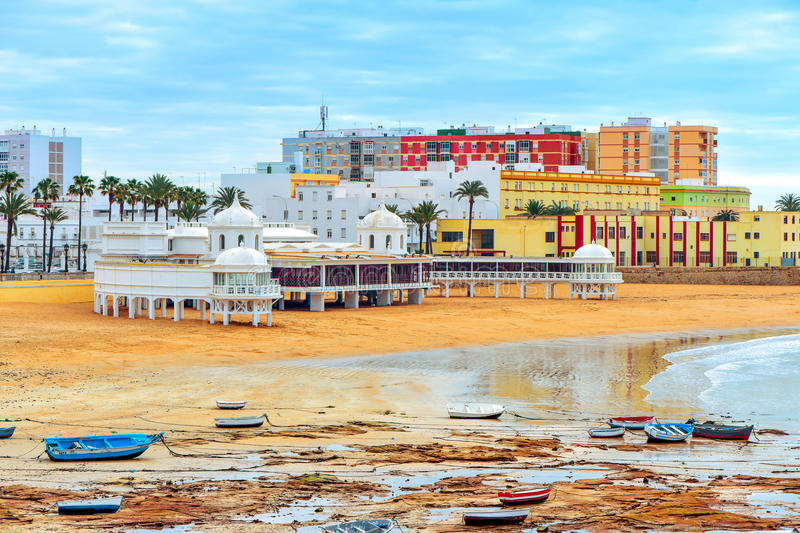 La Caleta Beach in Cadiz, Spain royalty free stock image