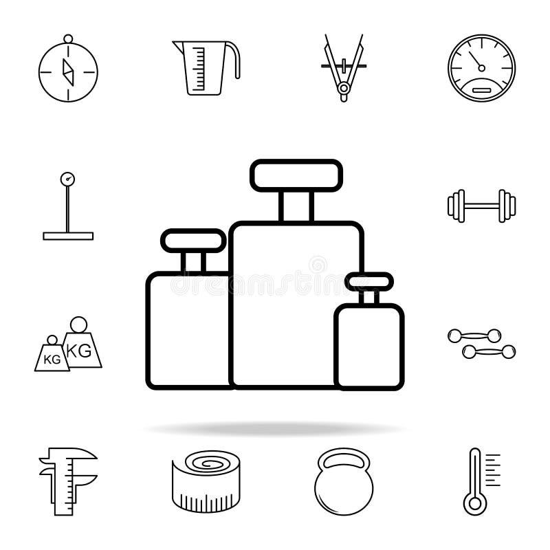 la calibración carga el icono Sistema universal de los iconos de los instrumentos de medida para el web y el móvil stock de ilustración