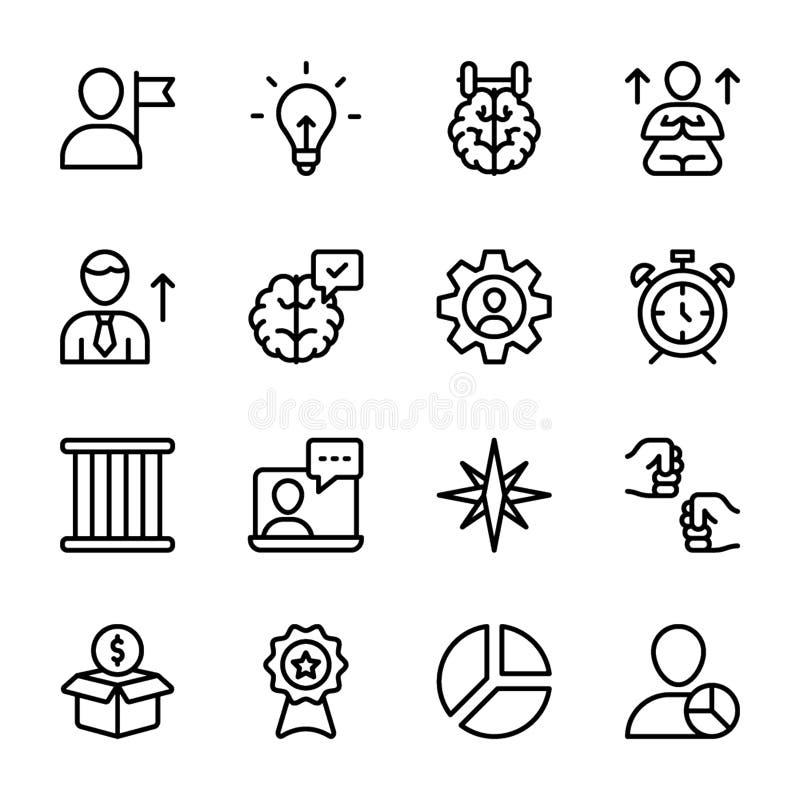 La calidad personal, línea vectores de la gestión del empleado embala ilustración del vector