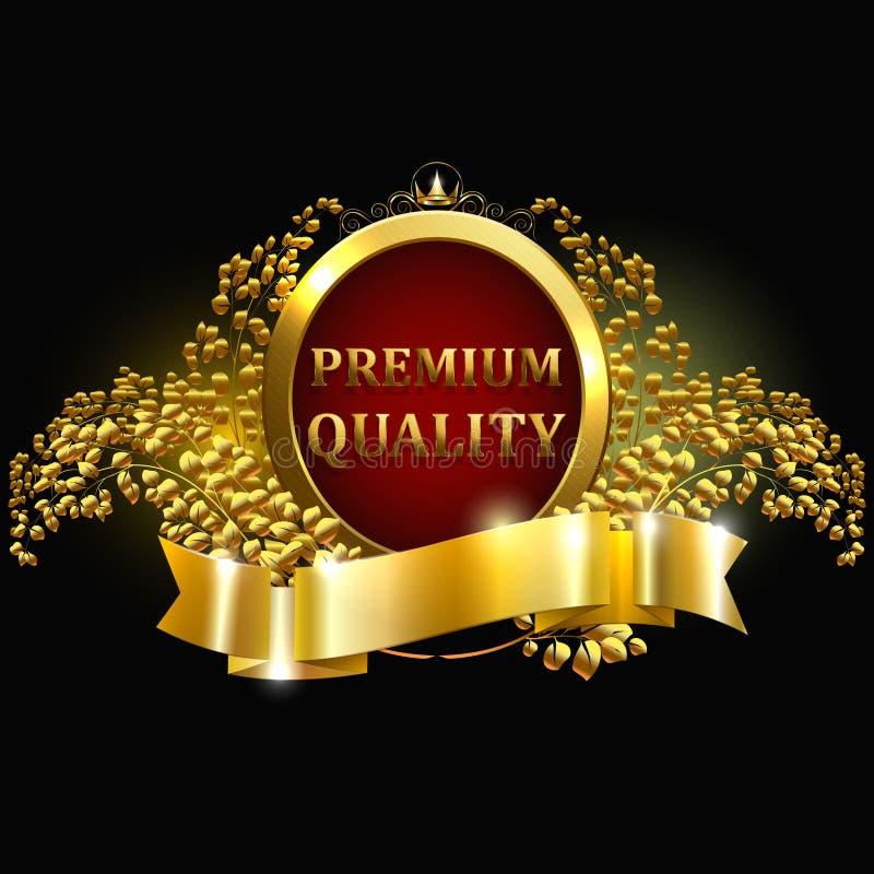La calidad superior garantizó la etiqueta de oro con la guirnalda de la corona y del laurel aislado en el ejemplo negro del vecto libre illustration