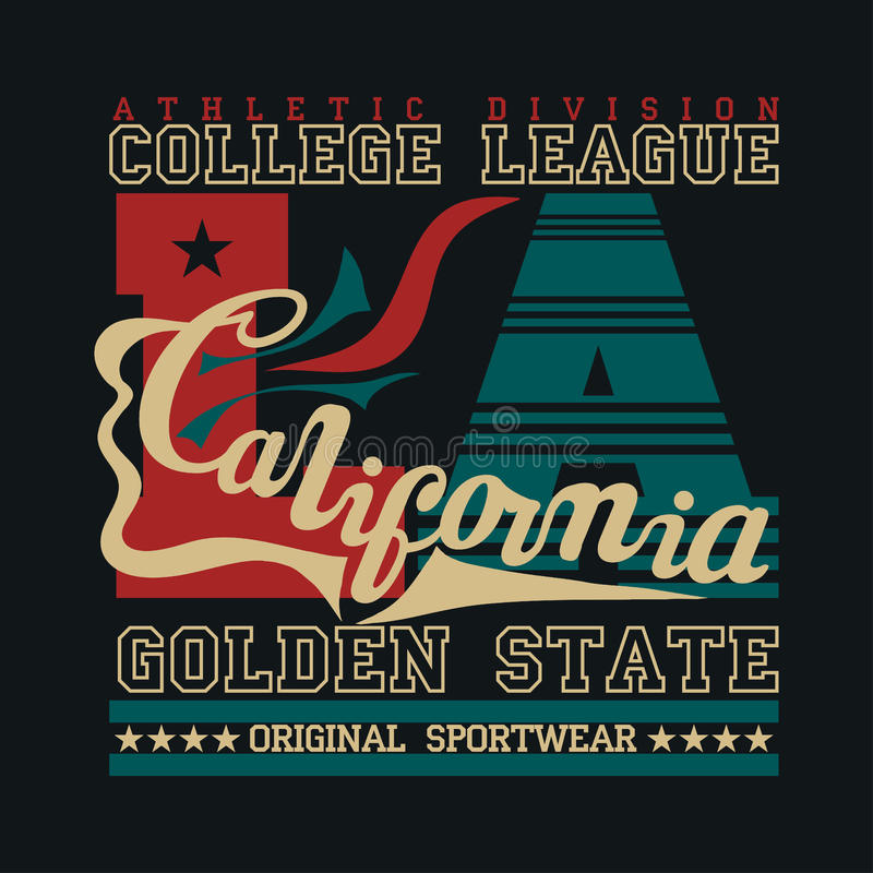 LA Califórnia de T-shir, esporte original, esporte da faculdade, T-s do vintage ilustração royalty free