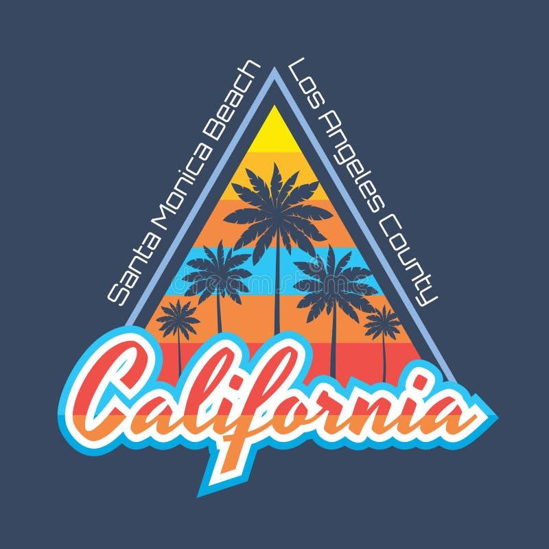 La Californie - concept d'illustration de vecteur dans le style de cru pour le T-shirt et toute autre production d'impression pau illustration stock