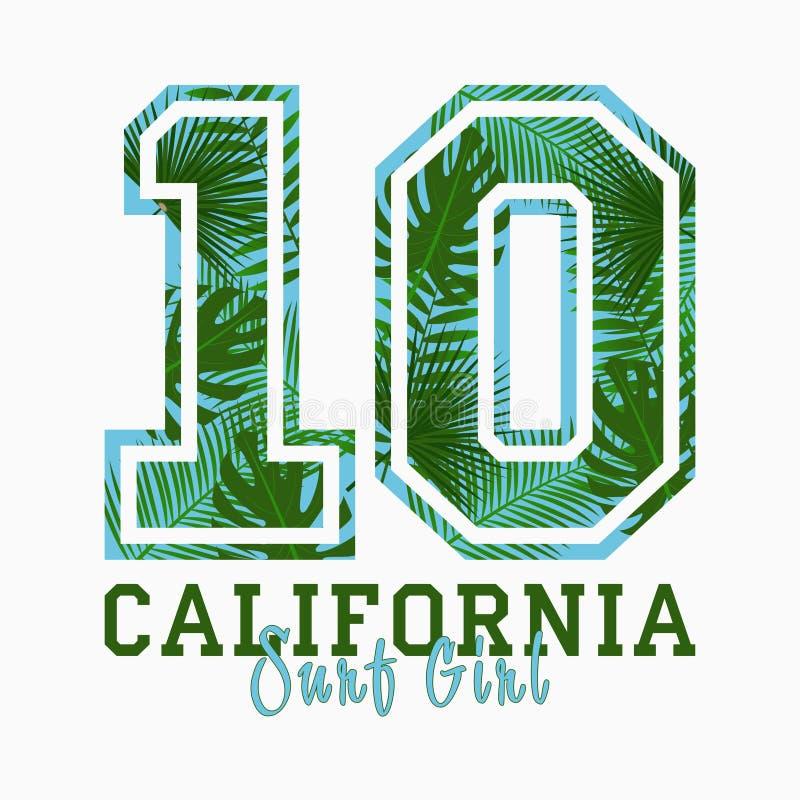 La Californie, fille de ressac - la typographie pour la conception vêtx, T-shirt avec les palmettes tropicales Copie graphique po illustration libre de droits