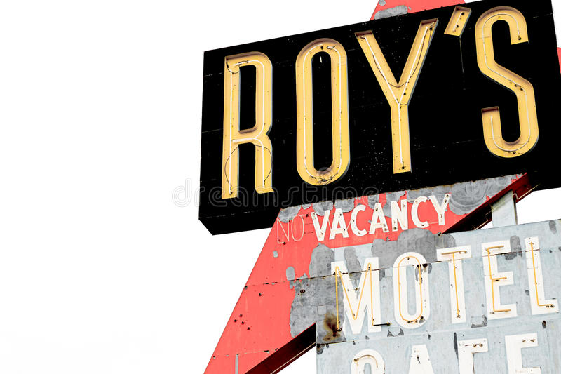 La Californie, le signe de motel du ` s de Roy image libre de droits