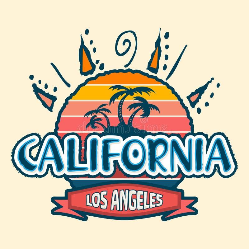 La Californie Los Angeles, conception d'emblème d'insigne de vecteur illustration libre de droits
