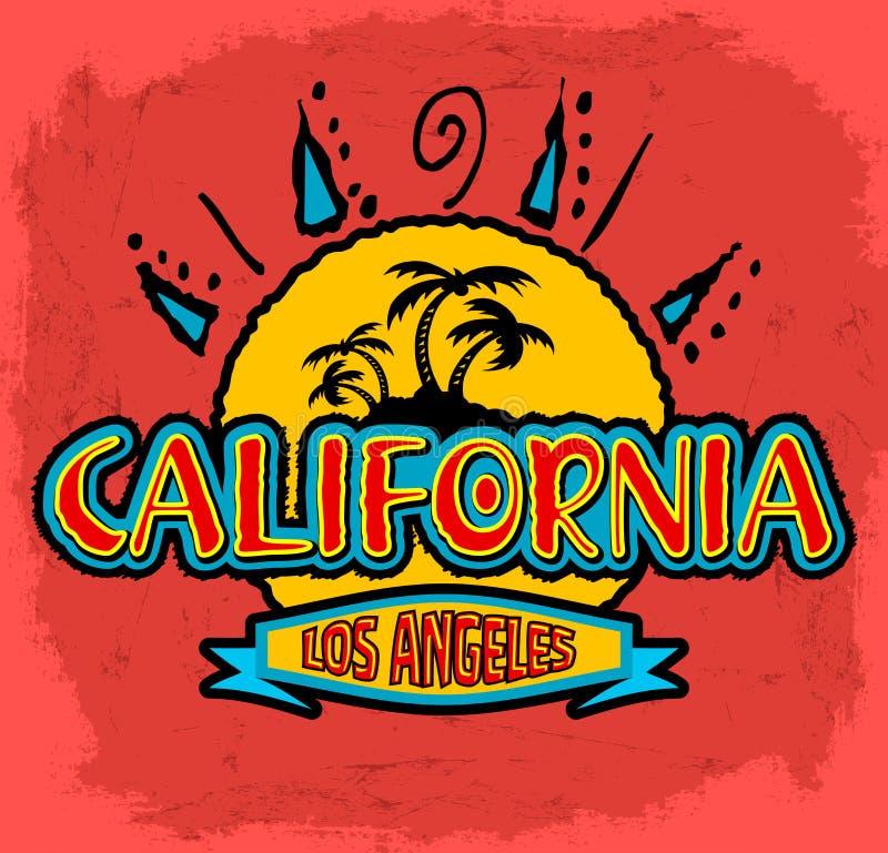 La Californie - Los Angeles - insigne de vecteur - emblème illustration libre de droits