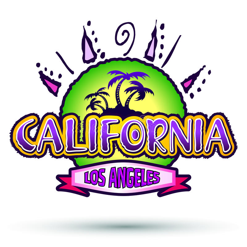 La Californie - Los Angeles - insigne - icône illustration stock