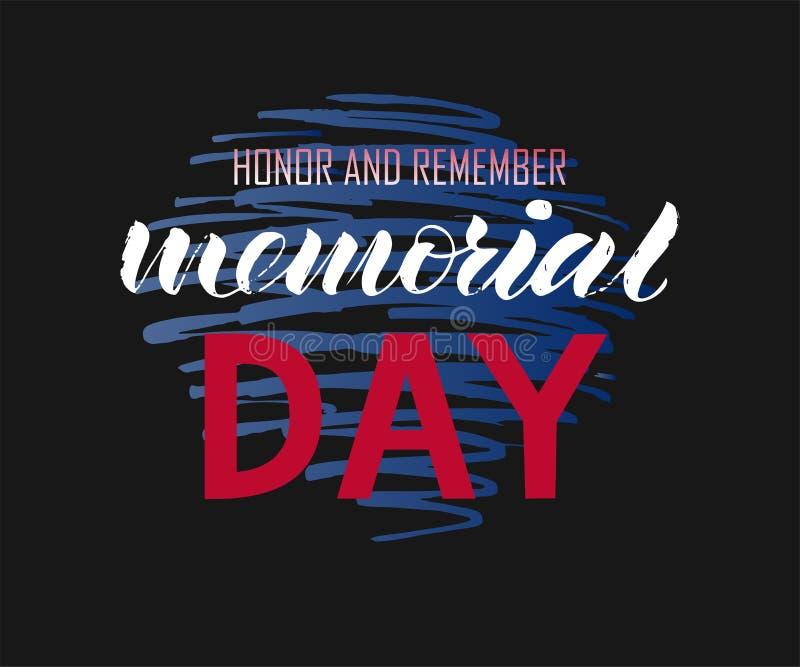 La caligrafía moderna del honor del Memorial Day y recuerda ilustración del vector