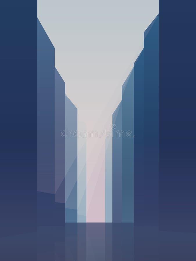 La calle de la ciudad con los altos rascacielos de la subida vector el fondo Símbolo del distrito céntrico, comercial corporativo ilustración del vector
