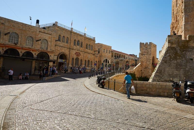 La calle principal en Jerusalén fotos de archivo