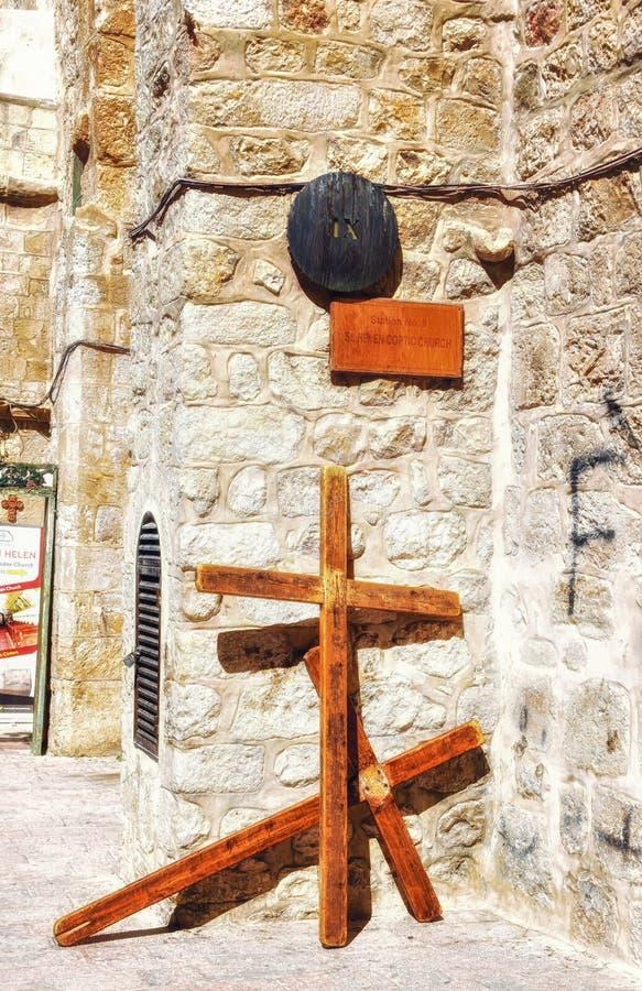 La calle vía el dolorosa, 4ta estación de la cruz, Jerusalén, Israel, 4ta estación de la cruz fotografía de archivo