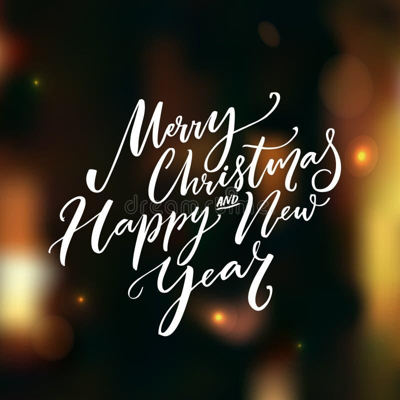 La calligrafia del buon anno e di Buon Natale manda un sms a sul fondo scuro di vettore con le luci e il bokeh Cartolina d'auguri illustrazione di stock